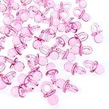 JZK 100 x Rosa finti ciucci plastica bomboniere decorativi per scatolina confetti battesimo nascita compleanno neonata ciucciotti piccoli ciuccetti per bomboniere