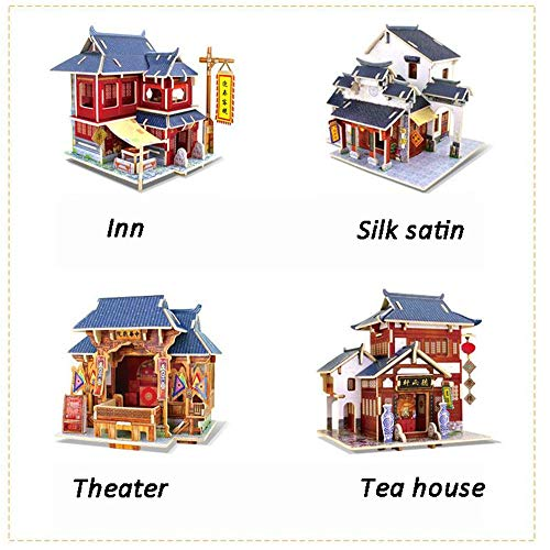Tuuertge Kids Play Tools DIY Miniature Room Set-Woodcraft Construction Kit-Wooden Model Building Set-Mini House Crafts,Best Birthday Gifts Pretend Play (Color : Tea House, Size : 19.2x11.2x15cm)