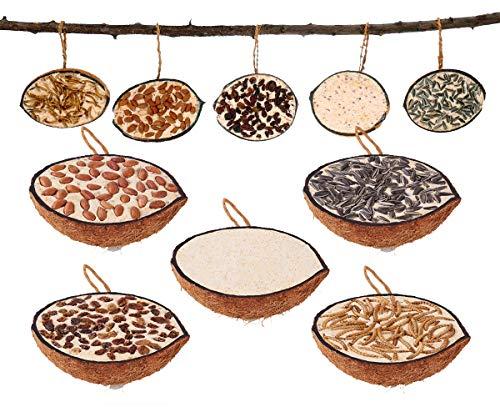 10 gefüllte halbe Kokosnüsse in fünf verschiedenen Sorten zum aufhängen Ganzjahres Wildvogelfutter
