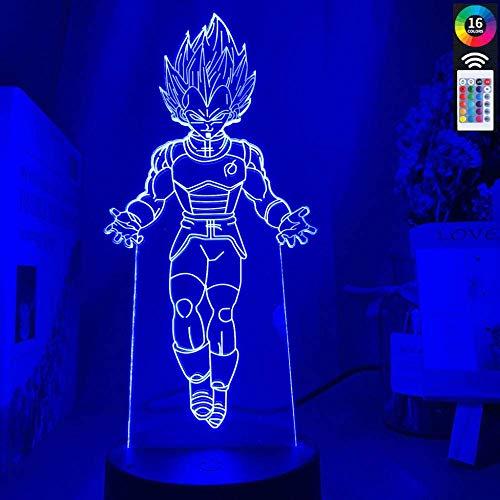 Lámpara de ilusión 3D LED de luz nocturna Dragon Ball Vegeta Touch Sensor de cultura Ambiente para niños dormitorio noche Dragon Ball lámpara de mesa