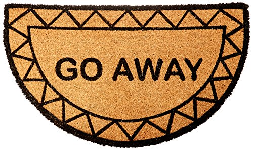 Half Moon Go Away Coir Doormat by Castle Mats, Size 18 x 30 inches, Non-Slip, Durable, Made Using Odor-Free Natural Fibers