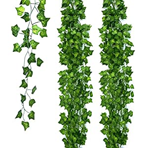 Ohuhu 20 Pack 131 FT Artificial Ivy Leaf Fake Plants Vines, Greenery Garland Leaves Hanging for Home Kitchen Office Garden Wedding Party Home Wall Indoor Outdoor Decor, 79 Inch Each, Green