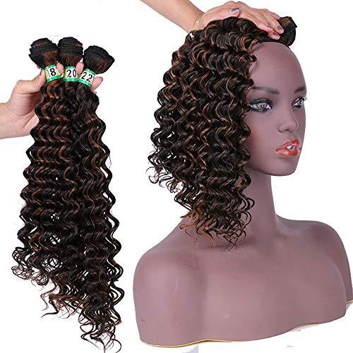 Souple Fashian Synthetic Weave 3 Bundles - Extension de cheveux bouclés bruns profonds P1 / 30 70g / pcs (18 '' 20 '' 22 '') fashion (Color : Brown, Size : 18\