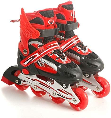Patinales en línea ajustables para niños, 2 colores y 3 tamaños con ruedas de iluminación para principiantes de rodillo divertido parpadeante iluminando patines para niños niños y niñas,Rojo,L