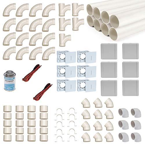 Zentralstaubsauger Einbau-Set für 6 Saugdosen mit Rohren, Fittings & Co. - Montageset für den DIY-Einbau einer Staubsaugeranlage - Saugdose VacuValve ES quadratisch