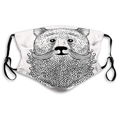 Máscara de tela reutilizable transpirable para pasamontañas, estilo indie, estilo doodle, retrato de oso con barba rizada y bigote fresco, resistente al viento para adolescentes tamaño: S