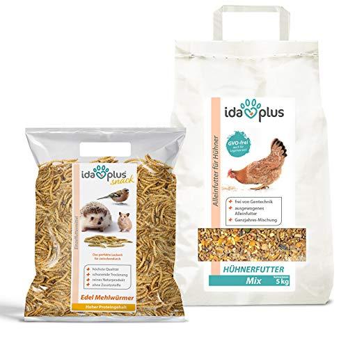 Ida Plus - Hühnerfutter Mix 5 Kg - Ausgewogenes Alleinfutter – Ganzjahresmischung - GVO-frei auch für Legehennen - Bestens für Futterautomaten geeignet - Enthält Calcium und Vitamine 5 KG + 1 Kg