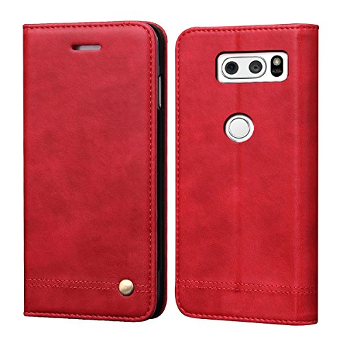 LG V35 Case,LG V35 ThinQ Case,LG V30 Case,LG V30 Plus LG V30S LG V30S ThinQ Case,RUIHUI Leather Wallet Flip Protective Case Cover with Card Slots,Kickstand Feature and Magnetic Closure(Red)