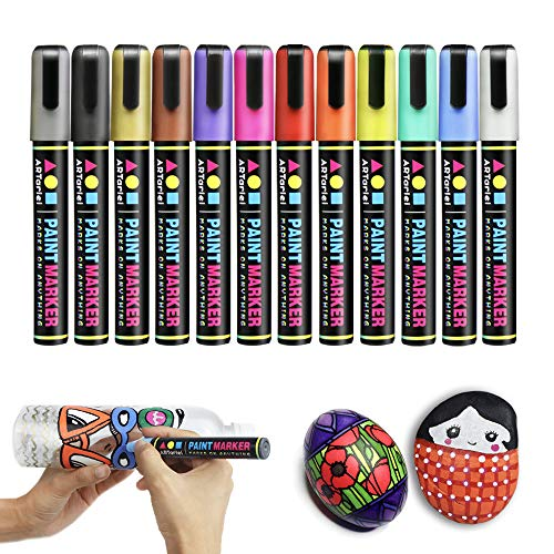 ARTarlei Permanent Paint Markers | Medium Point,Safe to Kids, 12 Vibrant Colors Oil-Based Paint Pens for Any Surface - Canvas, Glass, Stone,Ceramic,Metal, Wood, Rubber,Plastic, Paper, Leather, Clay