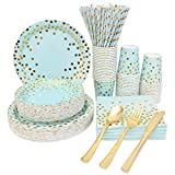 Blue and Gold Party Supplies Disposable Blue...