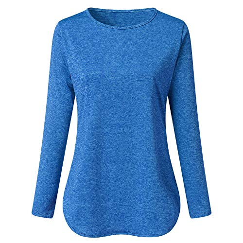 HFStorry Women's Pure Color Comfortable Casual Long Loose Round Neck Long Sleeve t-Shirt Top Blue