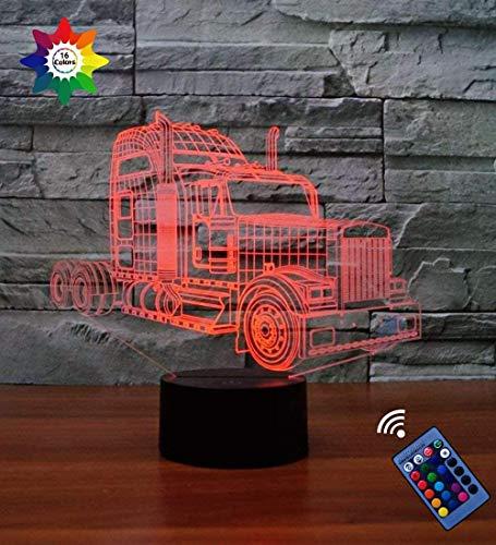 YTDZ - Lámpara de Noche para camión, 7 Colores cambiantes, USB, Interruptor de Encendido táctil, lámpara óptica, lámpara de Mesa LED, lámpara de Escritorio, para niños y Novios
