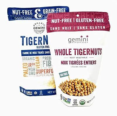 Organic Gemini TigerNut Flour (16 ounce) and Raw Snack (12 ounce) Bundle Gluten-Free - Vegan - Non GMO - Paleo - Kosher