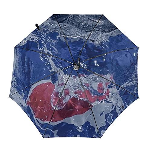 Donono Paraguas automático de tres pliegues 3d impreso burbuja botella de agua en agua impermeable protección UV lluvia paraguas interior impresión para al aire libre