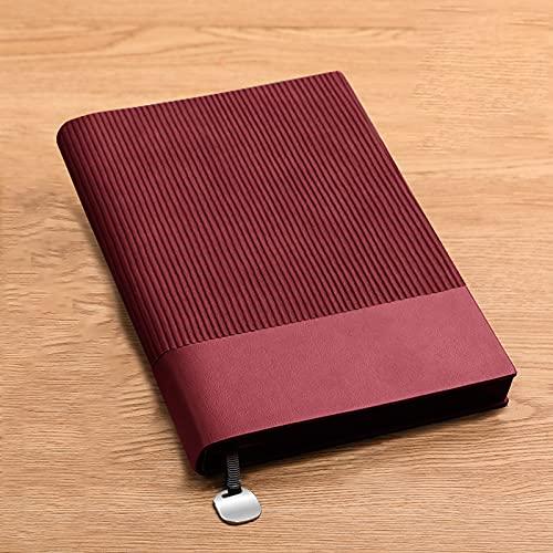 Cuaderno Simplicity Imitación Cuero A5 Bloc Notas Impermeable Clásico Portátil Marcador Forrado Libreta para Office School Home Business Writing,Rojo