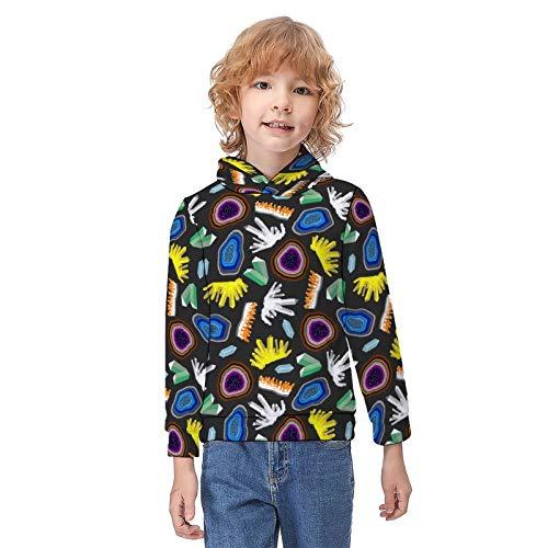 Boys Girls Hoodies Sweatshirt Crystal Geodes Windproof Polyester Spandex Comfortable Sweatshirts Tops for Vacations