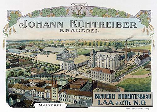 Vintage bieren, wijnen en sterke drank 'Johann Kühtreiber-brouwerij', Duitsland, 1900, 250gsm Zacht-Satijn Laagglans Reproductie A3 Poster