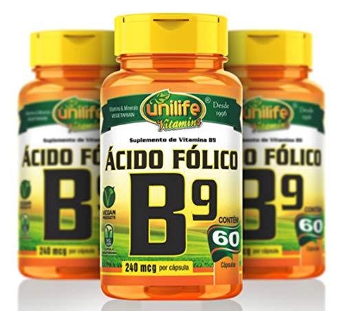 Vitamina B9 (Ácido Fólico) - 3 unidades de 60 Cápsulas - Unilife