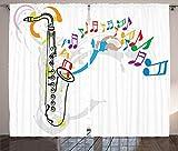 ABAKUHAUS Musica Jazz Cortinas, Festival de música Notas, Sala de Estar Dormitorio Cortinas Ventana Set de Dos Paños, 280 x 225 cm, Rojo Verde Naranja