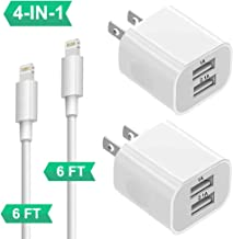 Charger for iPhone 8/7/6/Plus/Xs/XS/Max/XR/X/11, 4Pack Phone Chargers for iPhone with Wall Plug Dual USB Charger Block Cube Adapter for iPad Pro/Air2/Mini3/Mini4 2x Wall Charger+2x MFI Certified Cable