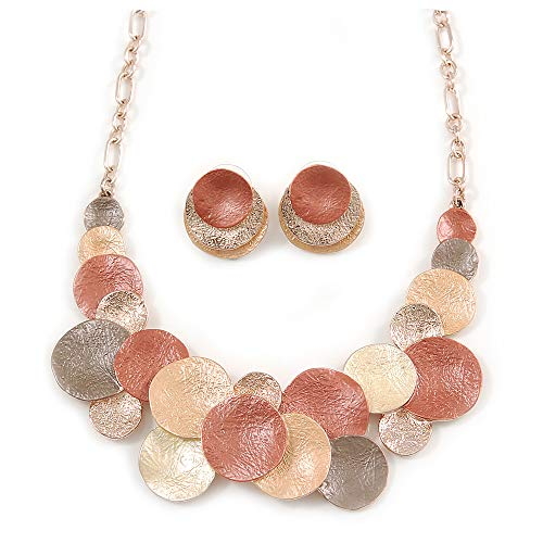Avalaya Geometric Multi Circle Necklace & Stud Earrings in Gold Tone (Beige/Orange/Yellow) - 39cm L/ 8cm Ext - Gift Boxed