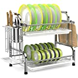 Dish Drying Rack, iSPECLE 304 Stainless Steel 2-Tier Dish Rack with Utensil Holder