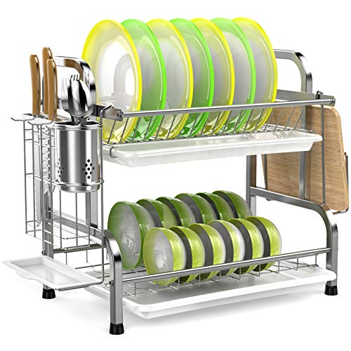 Dish Drying Rack, iSPECLE 304 Stainless Steel 2-Tier Dish Rack with Utensil Holder, Cutting Board...
