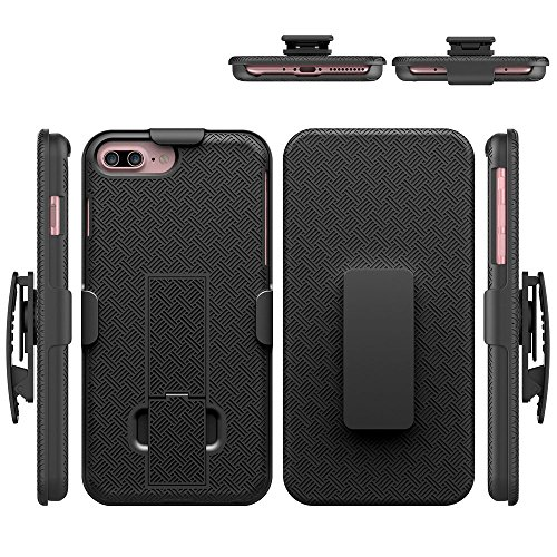 iPhone 8 Plus/7 Plus Case, HLCT Combo Slim Shell Holster Case w/Built-in Stand Kickstand + Swivel Belt Clip Holster for Apple iPhone 8 Plus/7 Plus