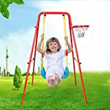 Toddler Outdoor Swing Playset, Children's Toys Swing Basketball Combination Swing Set, A-Frame Swing Chair Indoor and Outdoor Play, Metal Swing Set for Backyard (Orange)