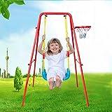 Toddler Outdoor Swing Playset, Children's Toys Swing Basketball Combination Swing Set, A-Frame Swing Chair Indoor and Outdoor Play, Metal Swing Set for Backyard (Orange)
