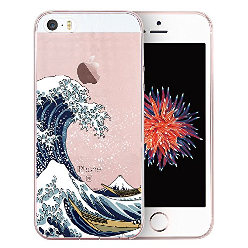 Unov Case Clear with Design Embossed Pattern TPU Soft Bumper Shock Absorption Slim Protective Cover for iPhone SE iPhone 5s iPhone 5(Great Wave)