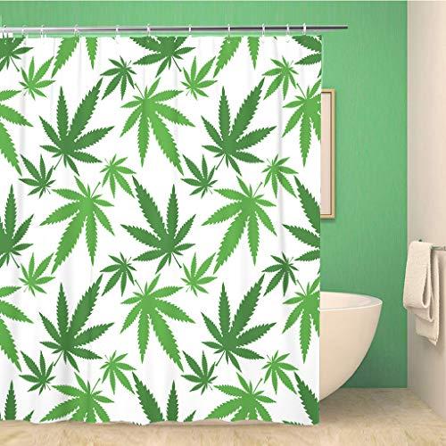 Awowee Decor Duschvorhang, bunt, Cannabisblätter, grünes Muster, Marihuana-Hanf, Medizinische 180 x 180 cm, Polyester, wasserdicht, Badevorhänge Set mit Haken für Badezimmer