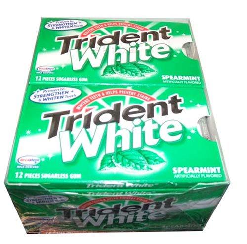 Trident White Sugarless Gum, Spearmint, 12-12 Piece Packs (144 Pieces Per Box!)