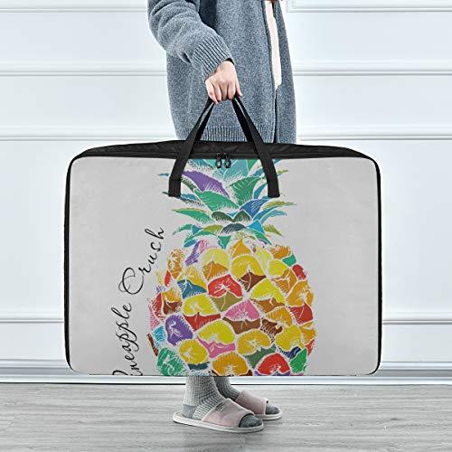 Contenedor Organizador para Ropa Imagen de póster Fruta de piña Ilustración de Vector Bolsa de Almacenamiento de Ropa de Gran Capacidad 70 X 50 X 28 cm Edredón Colcha Almohada Equipaje Mover Totaliz