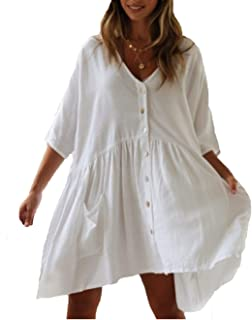 Beach Swimsuit for Women Sleeve Coverups Bikini Cover Up Shirt Button Pocket Down Skirt