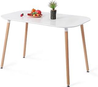 H.J WeDoo Table de Salle à Manger en MDF Moderne Table à Manger Cuisine Ovale Table avec Pieds Bois pour Salon Bureau etc ...