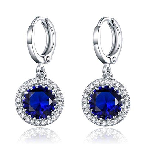 MASOP Damen Ohrringe Weißgold Ohrhänger Silber Saphir Klappbügel Ohrschmuck Blau Rund Zirkonia Swarovski Elements