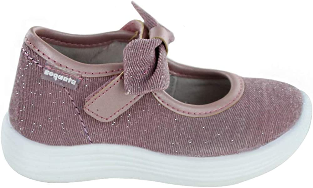 COQUETA Girls Pink Shoes with Bow and Glitter