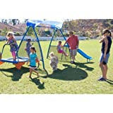 Kids Outdoor Playground Includes Trampoline, Swings and Slide (250XL Fitness Playground Metal Swing Set)