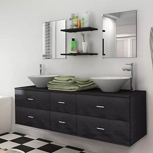Tidyard 9-TLG. Badmöbel-Set Badezimmermöbel mit Waschbecken und Wasserhahn