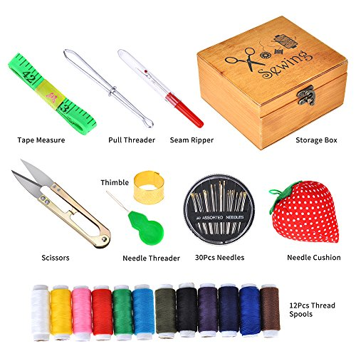 Scissors Sewing Kit -DIY Premium Sewing Supplies,for Home,Travel /& Emergencies Thread,Tape Measure Thimble Filled with Mending and Sewing Needles