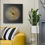 YuanMinglu Cartel y Grabado Lienzo Arte Pintura Mural Abstracto Moderno Negro Oro Arte Imagen Sala nórdico Mural Decorativo Pintura sin Marco 70x70cm