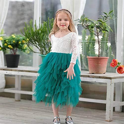 kengbi Komfortables und exquisites Kleid Mädchen Spitze Kleid Blume Tiered Tüll Maxikleid Langarm Prinzessin for Hochzeit Party Kinder Kleidung 1-10Y (Color : Green, Kid Size : (150cm) 8 9Y)