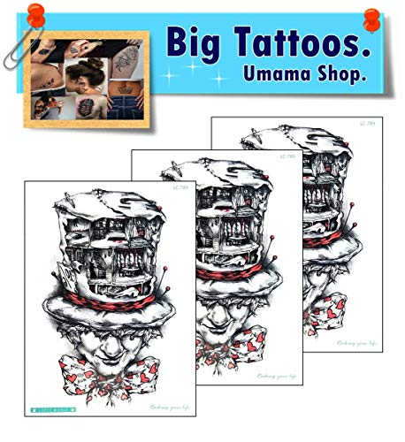 Umama Big Tattoos 3 Sheets Skull Ghost Evil Zombie Halloween Cartoon Sticker The Joker Temporary Tattoos for Men Women Waterproof Fake Body Art Arm Chest Shoulder 3D