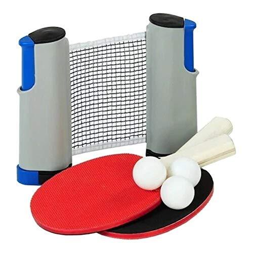 Juego de Red portátil Ajustable de Tenis de Mesa de Tenis de Mesa (2 Raquetas + 3 Bolas de pinpon)