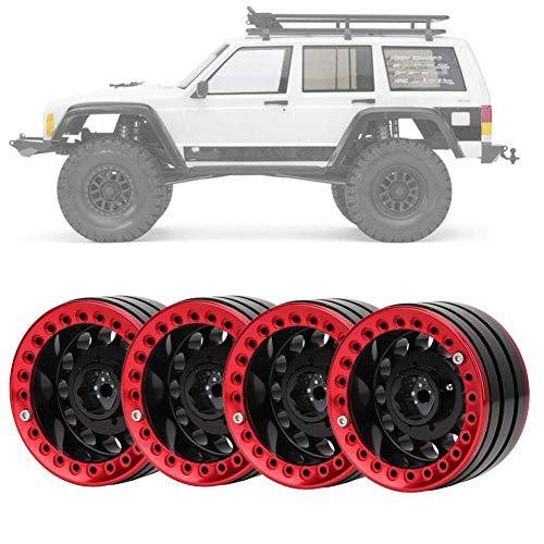 Dilwe 4 Stücke 1,9 Zoll Beadlock Felge Radnabe, Zubehörteil für SCX10 1/10 RC Crawler Car(schwarz rot)