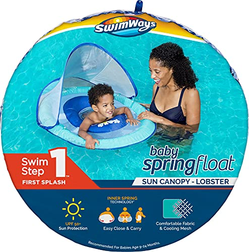 SwimWays Baby Spring Float with Adjustable Canopy and UPF Sun Protection, Blue Lobster