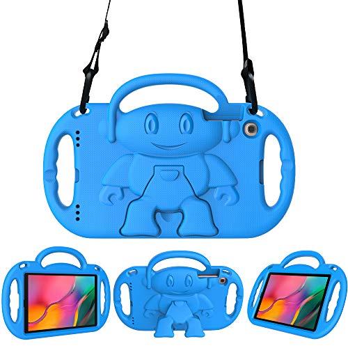Surom Schutzhülle für Samsung Galaxy Tab A 25,6 cm (10,1 Zoll) 2019, leicht, stoßfest, fre&licher Handgriff, Kinderständer mit Schultergurt für Tab A 2019 (Modell SM-T510/T515), Blau