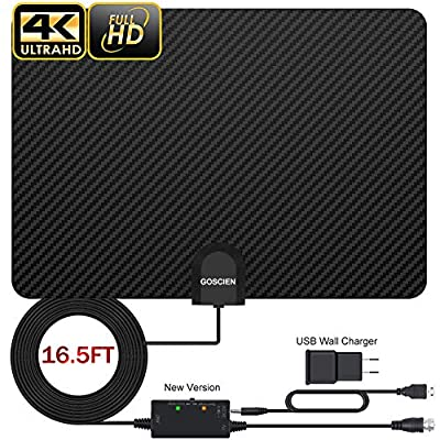 Digital Antenna for HDTV, 2020 Newest Carbon Fibre Indoor TV Antenna for Digital Freeview 4K 1080P HD VHF UHF for Local Channels 120 Miles Range with Signal Amplifier Support All TV's - 16.5 ft Coax C