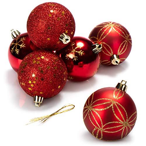 com-four 6X Palle di Natale, Palle per Alberi di Natale in plastica infrangibile per Natale, Decorazioni per Alberi di Natale, Ø 8 cm (Rosso/Color Oro)